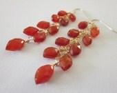Orange Carnelian Earrings, Dangle Earrings, Orange and Gold Earrings