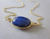 Blue Lapis Necklace in Gold