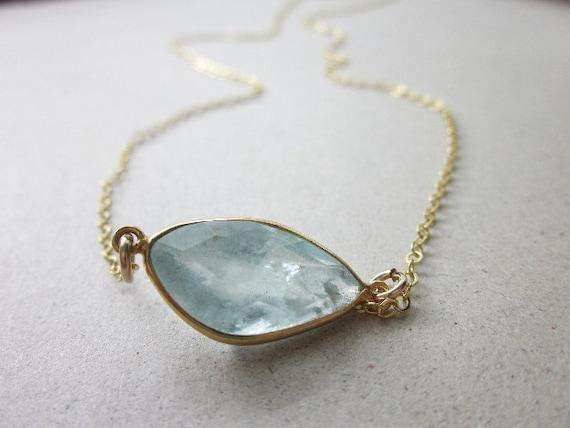 Aquamarine Necklace Gold: Pale Blue Gold Pendant
