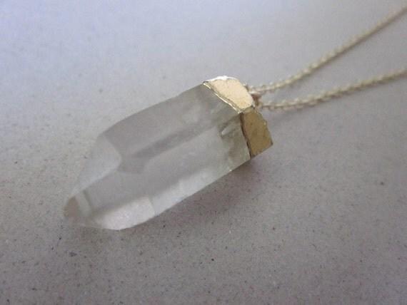 Crystal Quartz Pendant  Necklace in Gold