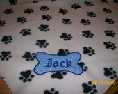 Pet Dog Fleece Blanket Large Personalized Handcrafted 36x30 inches