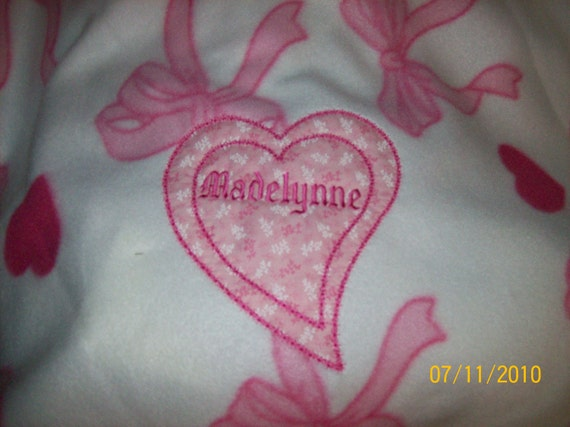 Baby/Toddler Blanket Fleece Personalized Carseat size 36 x 30
