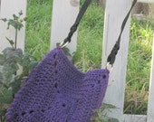 FREE shipping - purple sparkly crocheted purse with handle