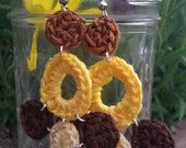 FREE shipping - yellow and brown chandelier crochet earrings