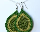 tear drop crocheted earrings in dark and light green