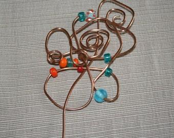 Sweater\/Kilt Pin - Crazy Bead Flower