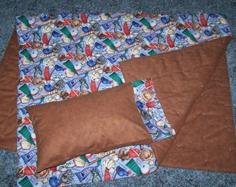 New BASEBALL theme toddler/crib quilt and pillow