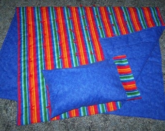 New STRIPE childrens crib quilt and pillow