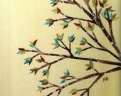 9 x 12 Original Artwork Elegant Fall Tree