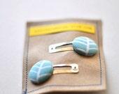 Aqua Herringbone Button Clippies