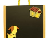Curious Puppy and the Flying House ART BOX - Wooden Chalkboard Magnetic Board and Storage for Creativity TO GO