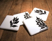 Black on White Glass Coasters with Damask and Floral Pattern
