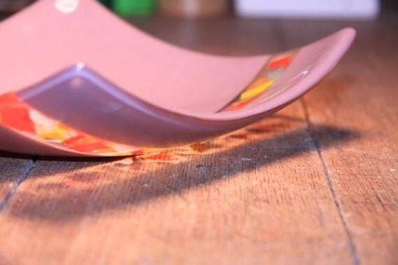 Lilac Glass Bowl with Colorful Confetti Fun