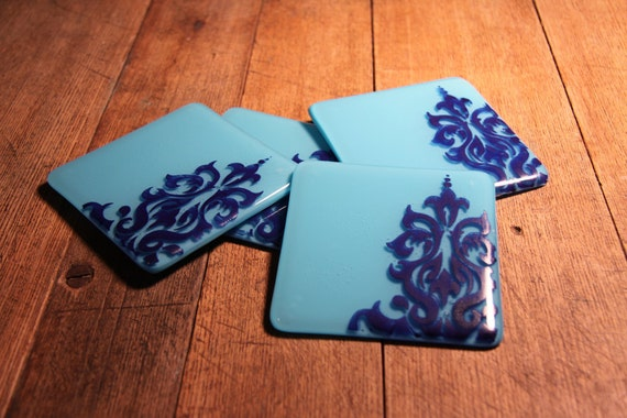 Beautifully Blue Colored Glass Coasters with Damask Pattern