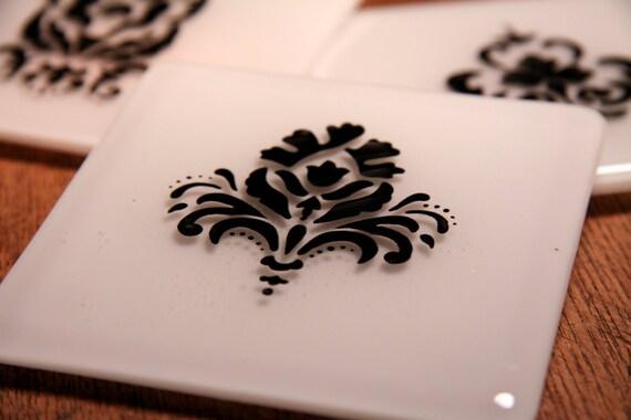 White Glass Coasters with Beautiful Black Damask Pattern