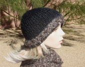 Hand Knit Black and Mocha Hat and Scarf set