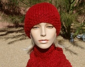 Hand Knit Cardinal Red Hat and Scarf Set