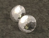 Silver Post Earrings -  Hammered Sterling Stud Earrings / Posts - Classic Ageless and Timeless - Sterling Silver Simple Beauty