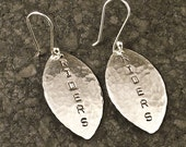 Silver Football Earrings - Customize to your TEAM - Handstamped - Personalize / Sterling Dangles