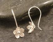 Silver Flower Earrings / Feminine Charm / Sterling Silver Hooks / Simple Silver Earrings  READY TO SHIP / Hooked on Flowers Wife Gift Girl
