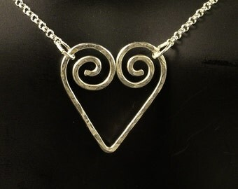 Sterling Silver Heart Necklace / Artisan Heart Pendant Pretty Love Gift Girl Ladies Mother