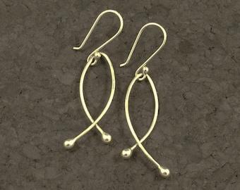 Dangles of Teared Argentium Sterling Silver Earrings