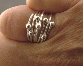 Sterling Silver Ring Set - Goddess Tear Drop Rings - MetalRocks Stacker Ring Set Silver Bud Tear Ladies Girls Handmade