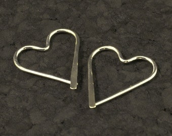 Silver Heart Hoops / Catchless Sterling Earrings / Hammered Sweethearts