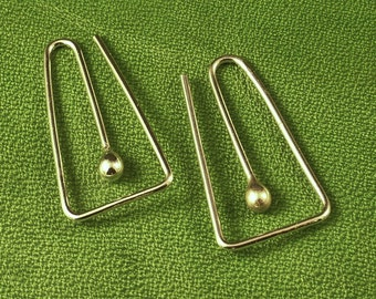 Sterling Silver Hoops / Squared Hoop in Argentium Tear / Bud - A MetalRocks Original Design - Catchless Earrings