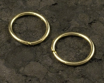 Small Gold Hoops / Tiny Gold Hoop Earrings / Small Cartilage / Tragus / Helix / Gold Nose Ring - A Pair Solid 10K