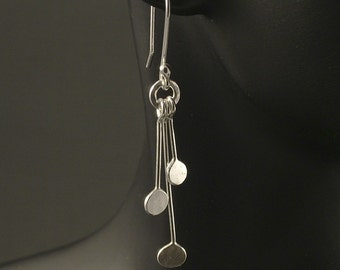 Silver Dangle Earrings / Argentium Sterling Silver Dangles / Upcycled Silver Earrings / Hammered Silver Earrings