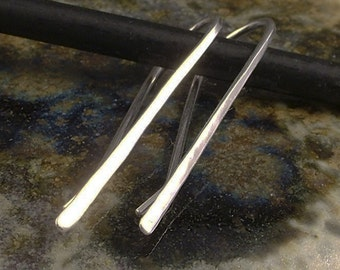 Hammered Silver Earrings /  Sterling Silver Stick Earrings  /  Bobby Pin Design -  Simple Argentium Silver Dangle Earrings