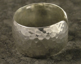 Wide Silver Ring / Hammered Band / Argentium Sterling Ring with a Breathable Band / Hammered Silver Ring