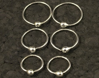 Small Silver Hoop Earrings - Tiny Little Hoops - Customize to your Size - Metal Buds / Tear Drops / Tragus / Ear / Nose Ring - A Set