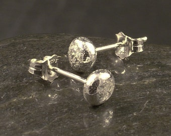 Upcycled Silver Earrings / Handcast Argentium Sterling Silver Stud Earrings / Argentium Post Earrings