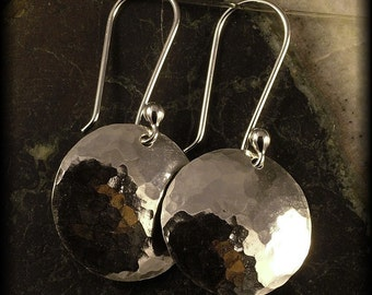 Sterling Silver Earrings /  Hammered Dangles /  Circle Disk Round Disc Minimalist Classic