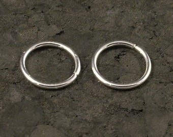 Tiny Silver Hoop Earrings - Cartilage / Tragus / Helix / Eyebrow / Nose Ring / Small / Little / Catchless / Seamless / Sleeper Hoops