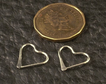 Tiny Silver Heart Hoops / Little Silver Hoops / Small Sterling Silver Hoop Earrings Catchless Cartilage / Tragus / Helix / Nose Ring