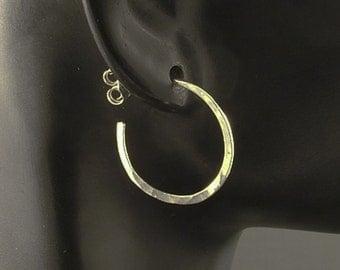 Silver Hammered  Hoop Earrings in a Post or Stud Style / Sterling Silver Hoops