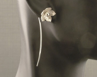 Sterling Silver Flower Post Earrings with a Long Stem / Silver Flower Earrings / Modern Simple Pretty Feminine Unique Different