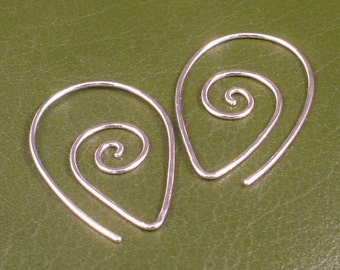 Sterling Silver Earrings / Swirling Silver Hoops / Argentium Swirl Spiral Tear Drop Hammered Tribal Twist Earring Unique Fun