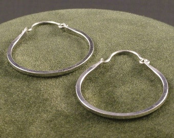 Silver Handmade Hoops - Argentium Hoop Earrings - Classic Minimalist Everyday Wear - Ladies Gift - MetalRocks - One Inch Sterling Hoops