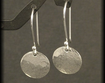 Hammered Silver Earrings Small Sterling Circle Dangle Earrings Disk Timeless Simple Everyday Wear NOW available in Gold READY to SHIP