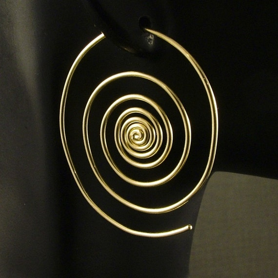 gold spiral hoop earrings large spirals big hoops out