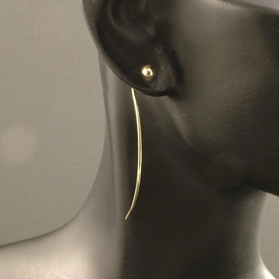 10K Solid Gold Post Earrings with Extended Tail / Gold Goddess Tear Studs