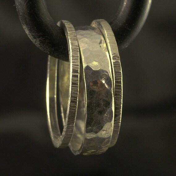 Silver Hammered Band Set / Stacking Ring Set of 3 Bands / Textured Artisan Stacker Rings