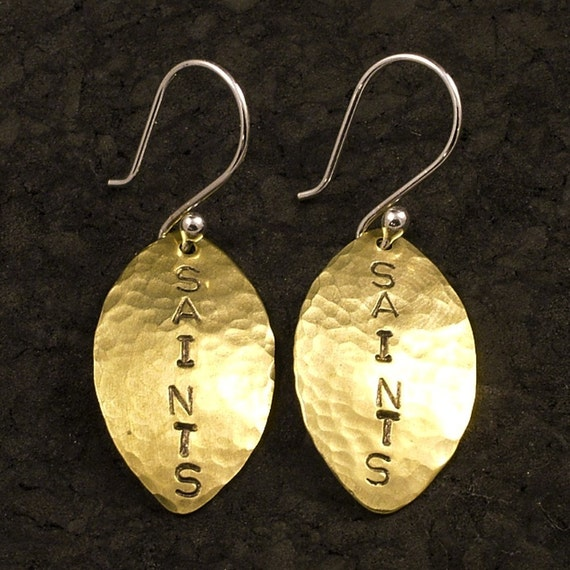 Football Earrings - Customized with Your Team - Brass Hand Stamped Earrings with Sterling Silver Ear Wires NFL CFL NCAA