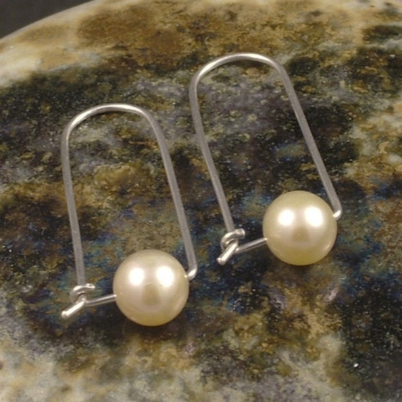 Silver Pearl Earrings / Sterling Silver Pearl Hoops - Modern Elegant Simple Minimalist Style Unique Different