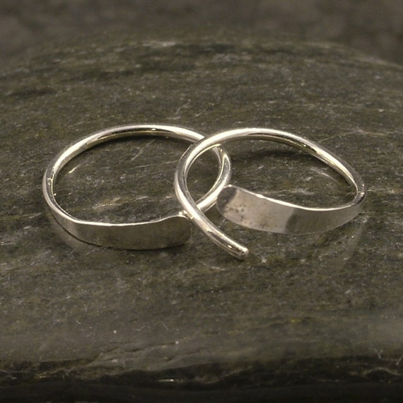 Silver Sleeper Hoops / Hammered Small Argentium Silver Hoop Earrings Catchless Endless Sport Men Ladies Half Inch or Customize Your Size