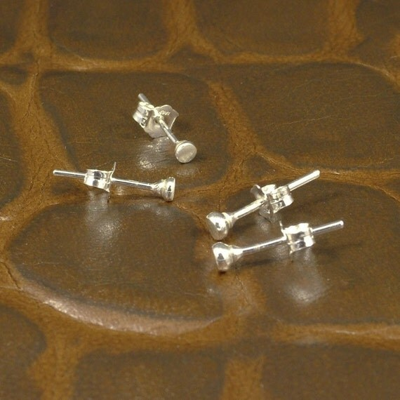 Tiny Silver Earrings - Unique Little Hammered Stud Earrings - Small Sterling Silver Posts - A MetalRocks Original Design